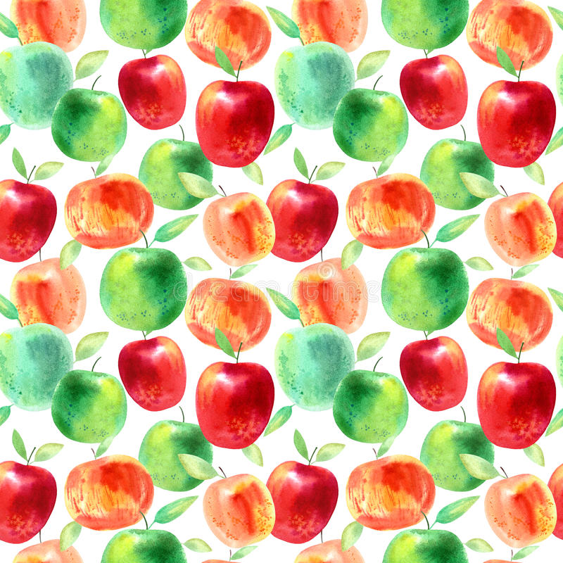 Seamless pattern with apples and seeds.Food picture. royalty free illustration