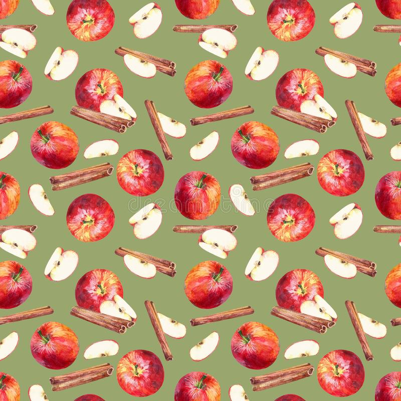 Seamless pattern with apples, slices and cinnamon sticks on green background. stock illustration