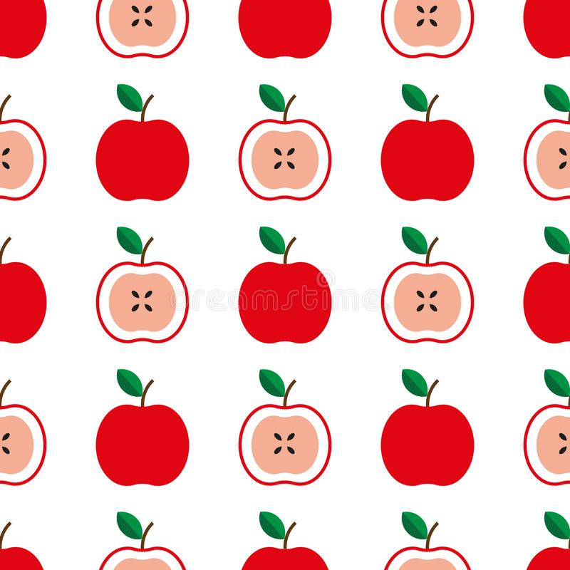 Seamless pattern with red apples on the white background. Vector illustration vector illustration