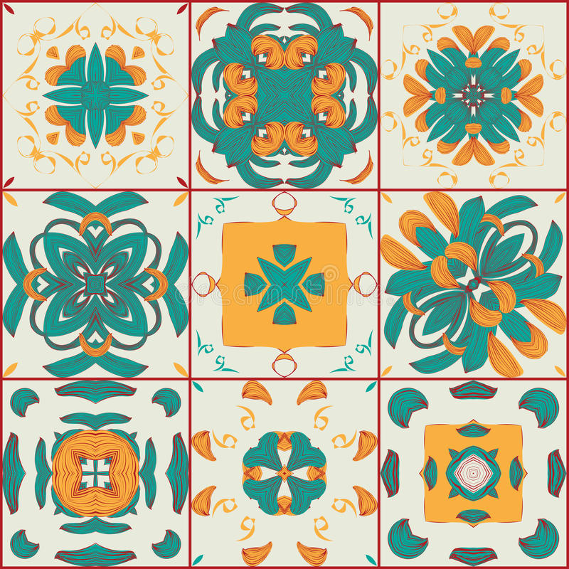 Seamless pattern from the 9 arabic tiles stock illustration