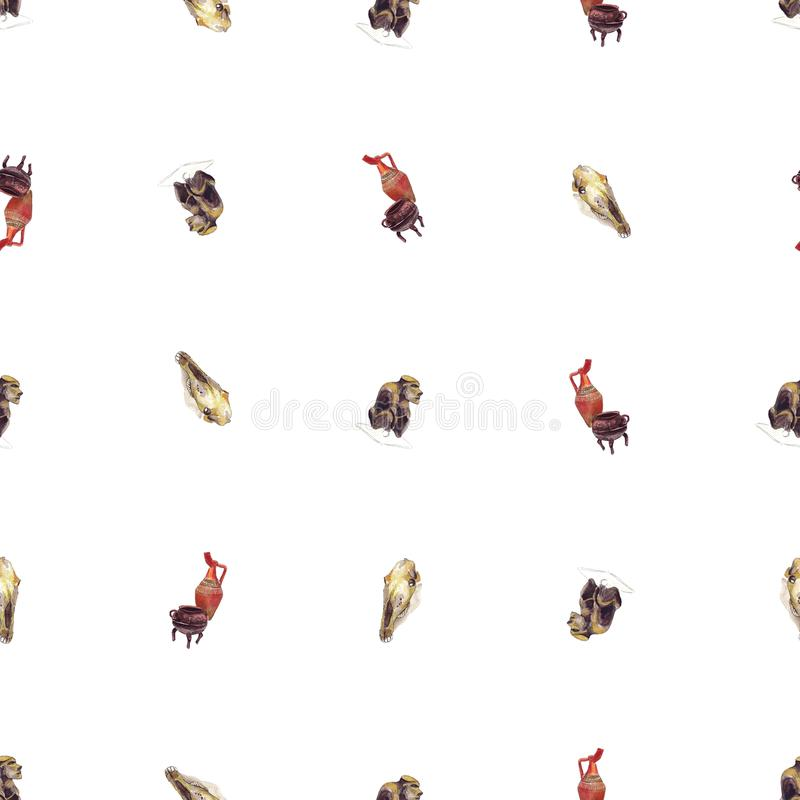 Seamless Pattern Archaeological Items Artifacts - Watercolor royalty free illustration