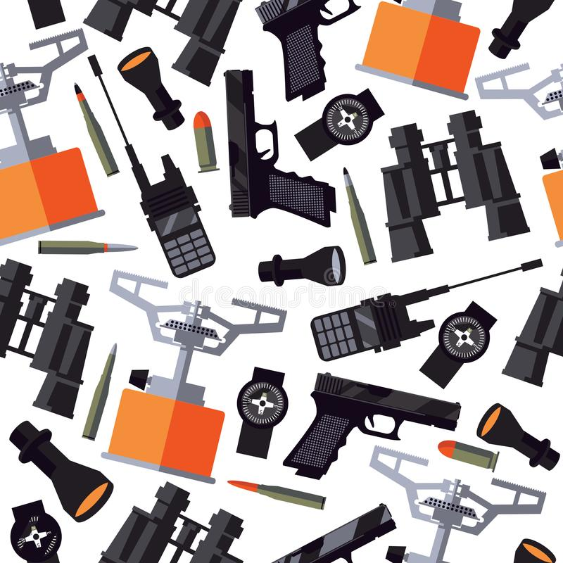 Seamless pattern with army soldier goods like portable radio, flashlight, compass, gun, bullets, binoculars and gas-burner on whit stock illustration