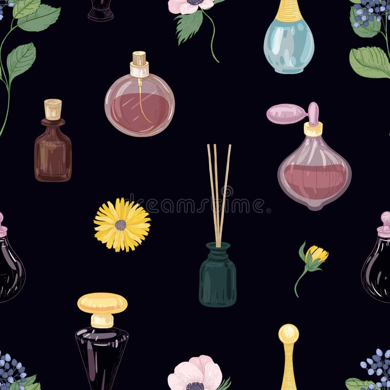 Seamless pattern with aromatic perfumes in glass decorative bottles or flasks, elegant blooming flowers on black. Background. Realistic vector illustration for stock illustration
