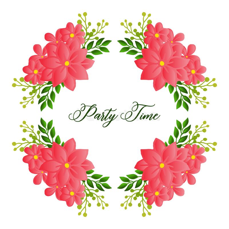 Seamless pattern art of leaf flower frame, for decoration of party time invitation card. Vector. Illustration royalty free illustration