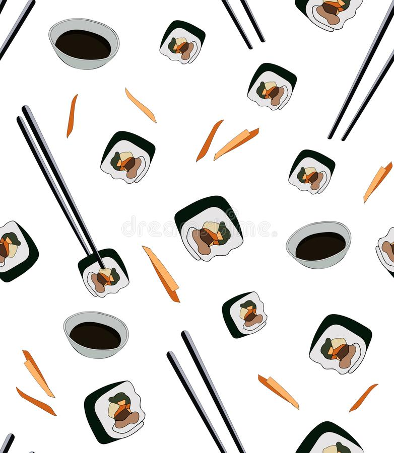 Seamless pattern for asian cafe. Korean traditional dish gimbap in chop sticks with soy sauce. Korean sushi royalty free illustration
