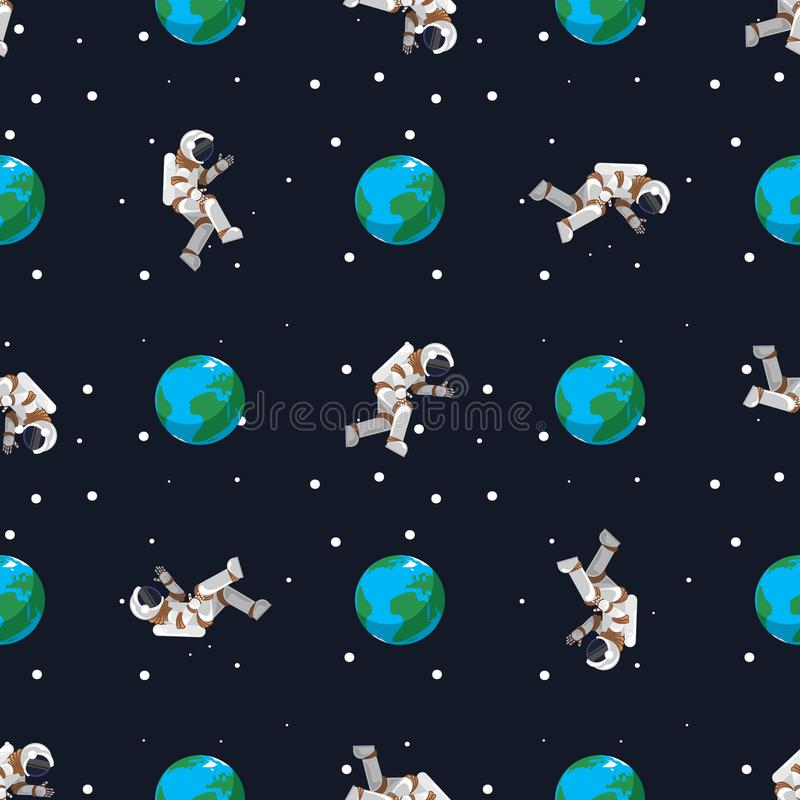 Seamless pattern astronaut flies near the planet Earth royalty free illustration