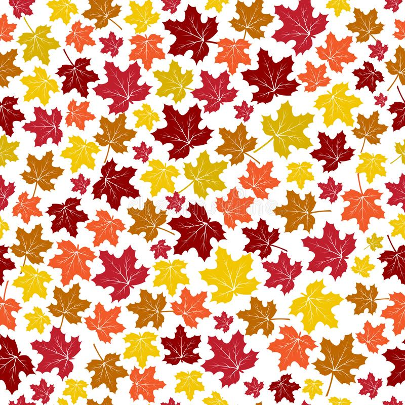 Seamless pattern with autumn maple leaves isolated on white background. Vector illustration royalty free illustration
