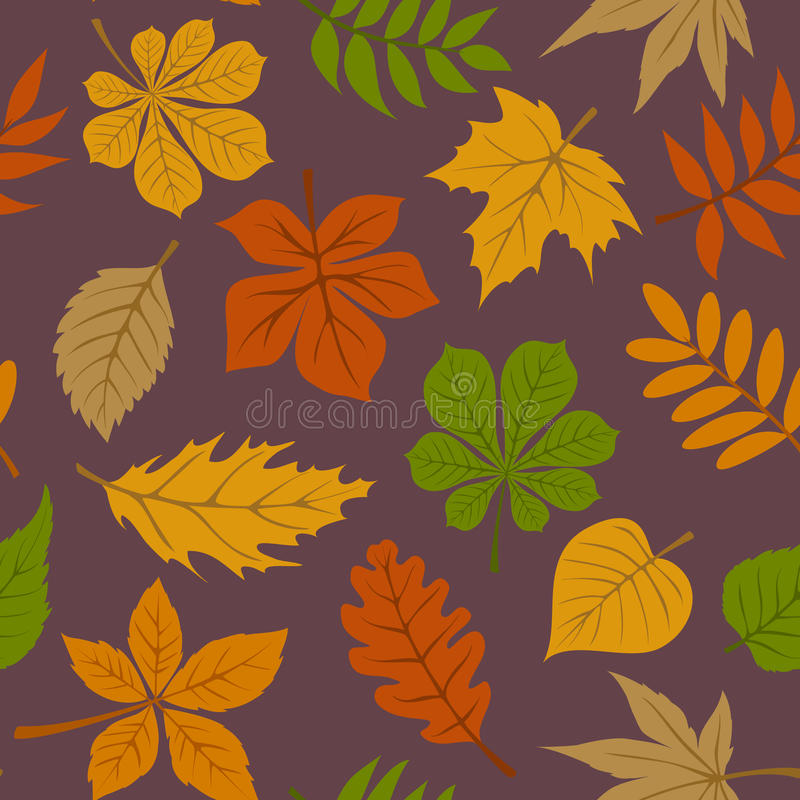Seamless pattern with autumn fall leaves. Seamless pattern with autumn fall forest leaves vector illustration