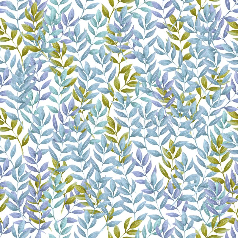 Seamless pattern of Autumn fall leaves, natural branches, colorful herbs, hand drawn in watercolor. Beauty elegant background. Texture, print, textile fabric vector illustration
