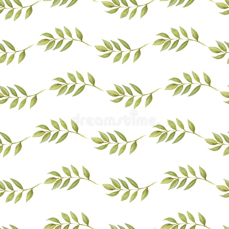 Seamless pattern of Autumn fall leaves, natural branches, colorful herbs, hand drawn in watercolor. texture, print,textile fabric. Seamless pattern of Autumn royalty free illustration
