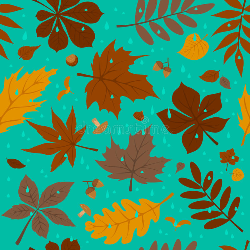 Seamless pattern with autumn fall leaves and rain drops on blue background. Forest foliage repeatable texture vector illustration