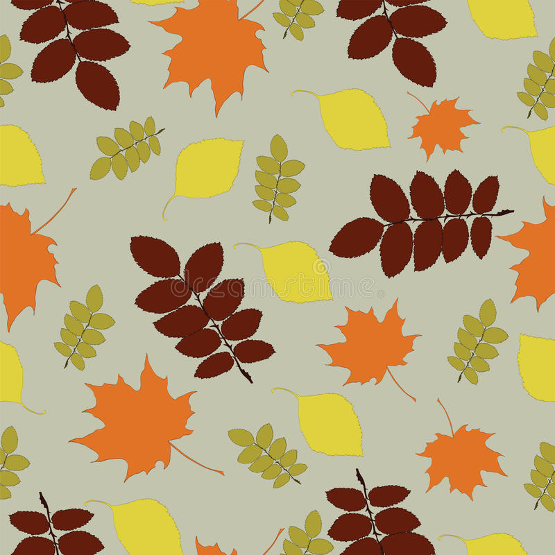 Download Seamless Pattern With Autumn Leaf Fall Stock Vector - Illustration of contour, leaves: 35050395