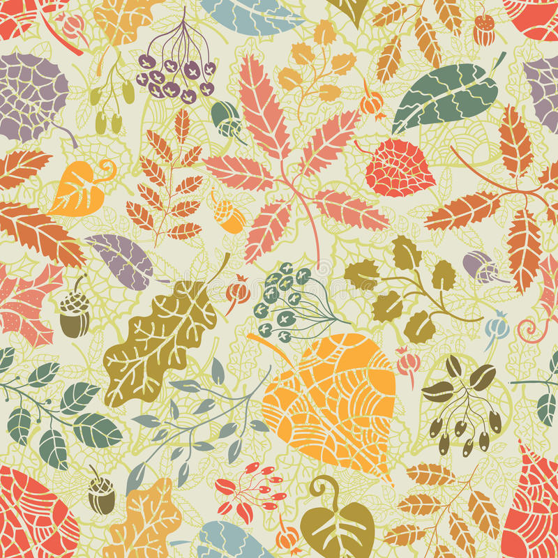 Seamless pattern.Autumn leaves and berryes. Fabrisc background royalty free illustration