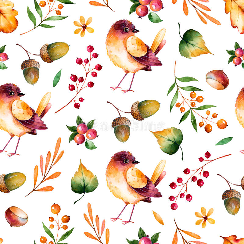 Seamless pattern with autumn leaves,flowers,branches,berries and little bird. vector illustration