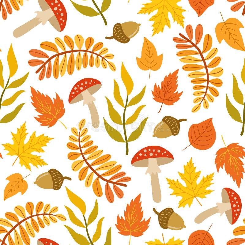 Seamless pattern of autumn leaves, mushrooms and acorns stock illustration