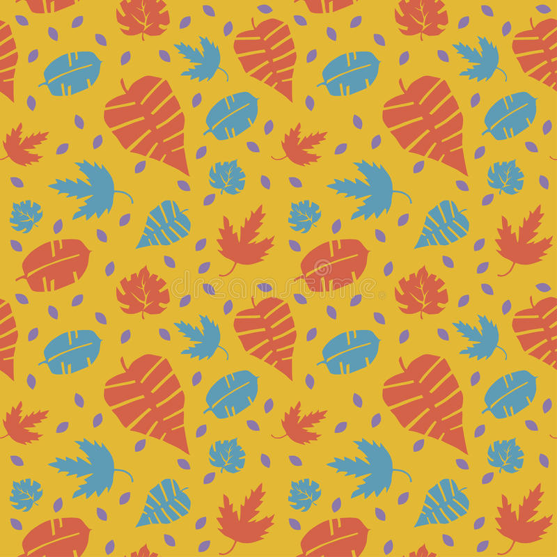 Seamless pattern with autumn leaves in a retro style. Endless texture can be used for printing onto fabric, paper or scrap booking, wallpaper, pattern fills stock illustration