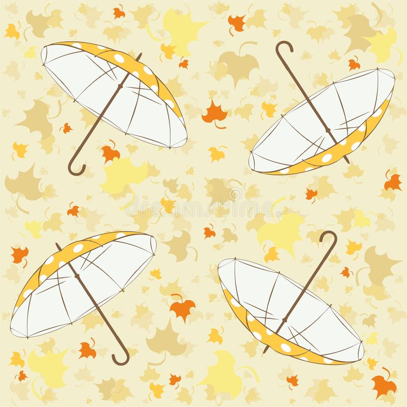 Seamless pattern with autumn leaves and umbrellas - vector. Seamless pattern with colorful autumn leaves and umbrellas. Useful also as design element for gift royalty free illustration