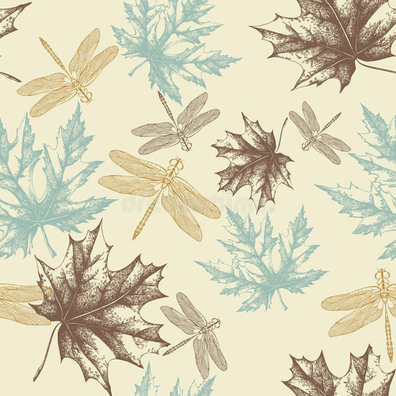Download Seamless Pattern Of Autumn, Maple Leaves And A Dra Stock Vector - Image: 23621365