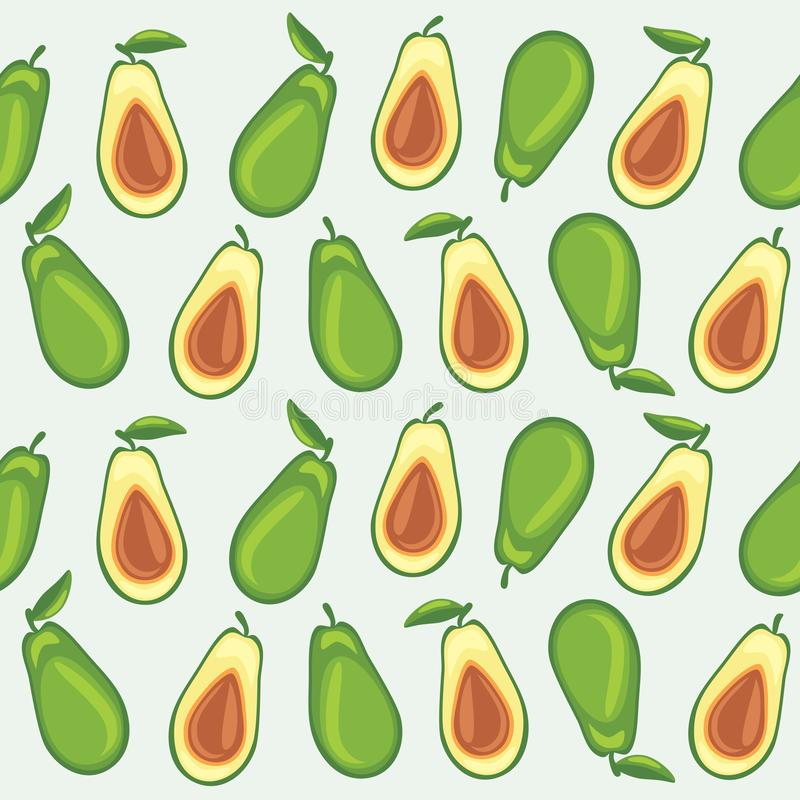 Seamless pattern with avocado stock image