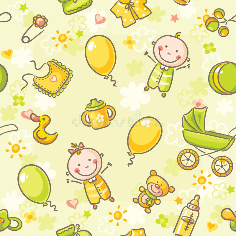 Seamless pattern with babies royalty free illustration