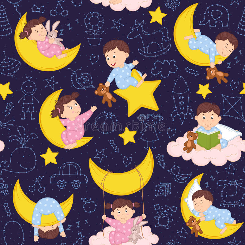 Seamless pattern with babies on the moon. Vector illustration, eps stock illustration