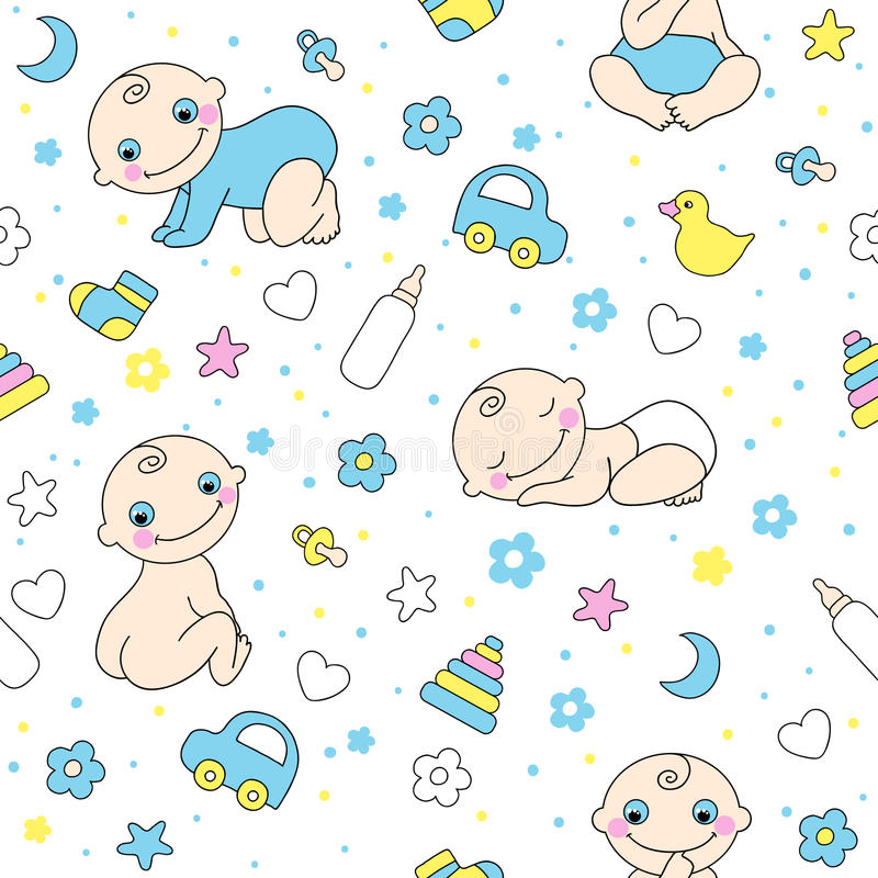 Seamless pattern for baby boys. stock photos