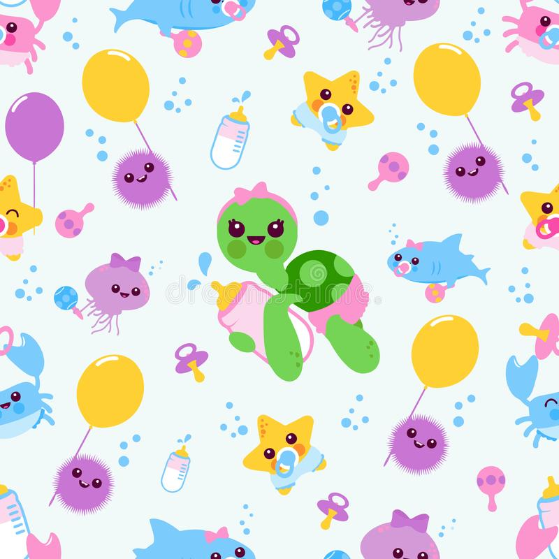 Seamless pattern baby sea animals vector illustration