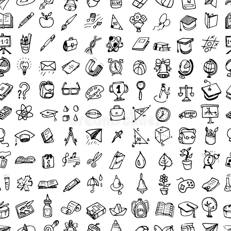 Seamless pattern Back to School doodle set. Various school stuff - supplies for sport, art, reading, science, geography, biology, royalty free illustration