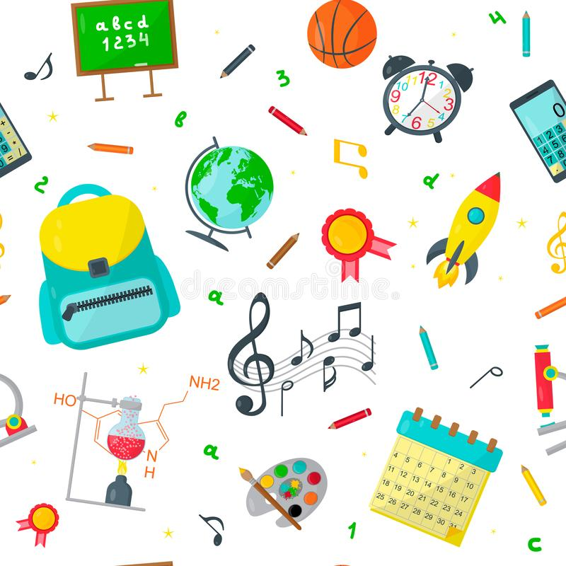 Seamless pattern Back to school of Education icons. Vector illustration royalty free illustration