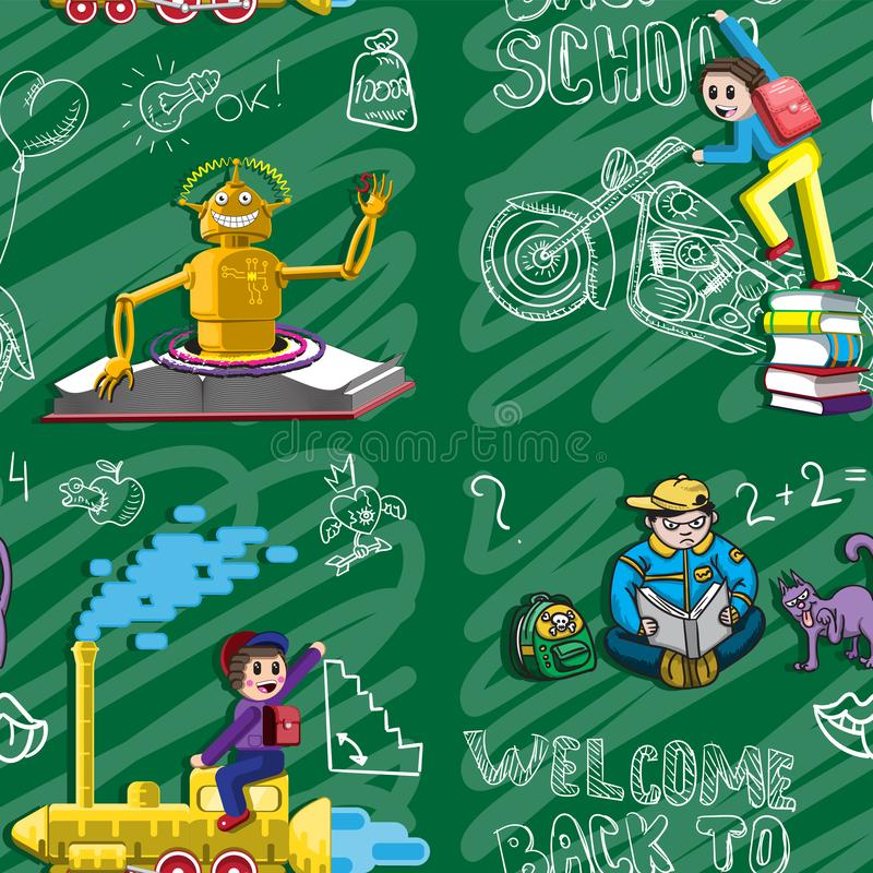 Seamless pattern back to school. Illustration of funny characters, the robot schoolboy chalk Board backpack motorcycle engine. For stock illustration