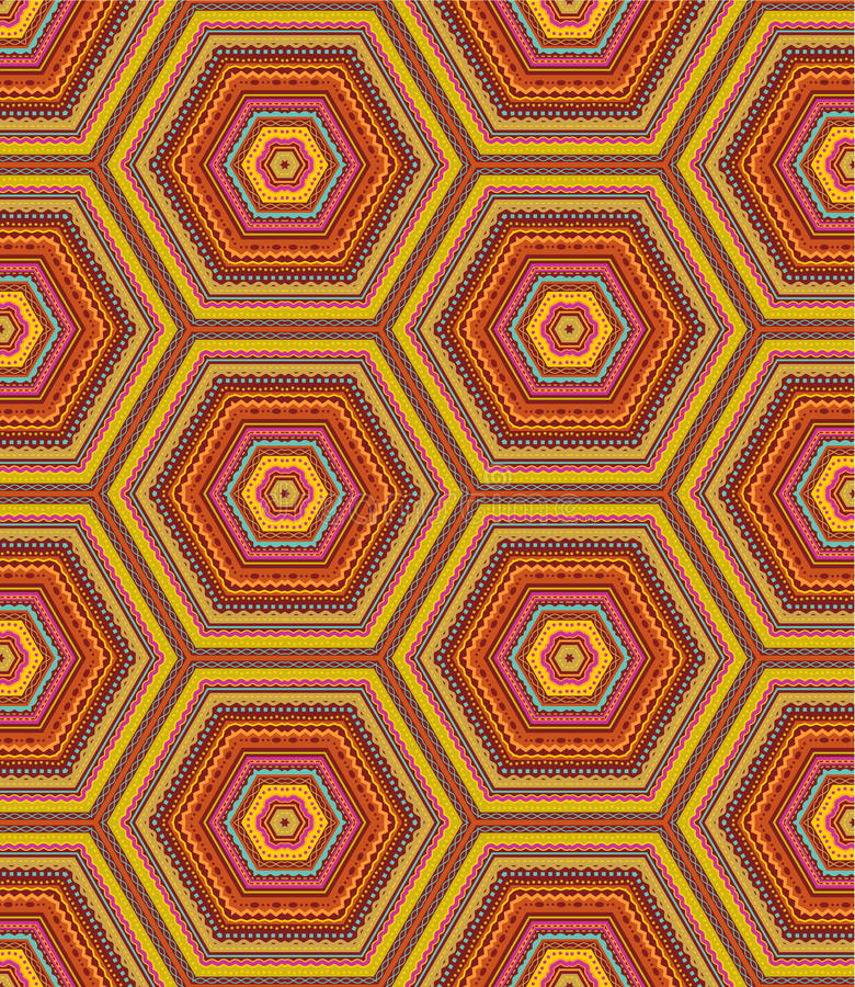 Seamless pattern or background. Seamless (easy to repeat) kashmir (cashmere), paisley or country geometric hexagonal pattern (background, wallpaper, print vector illustration