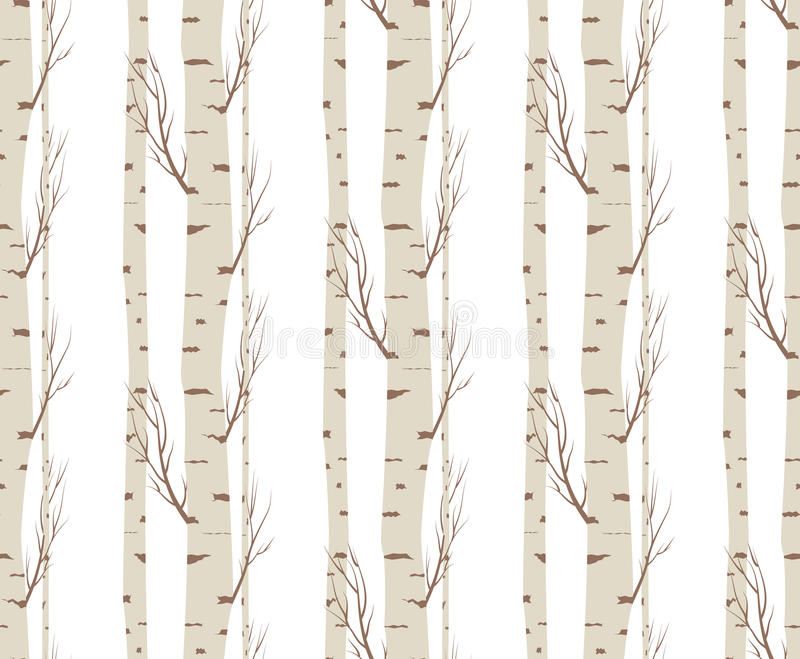 Top Seamless Pattern, Background With Birch Trees .textile, Fabrics Or  QJ27