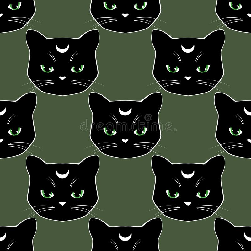 Seamless pattern background with black cat faces. Moon kitten character. Vector illustration. For halloween, textile, pajamas vector illustration