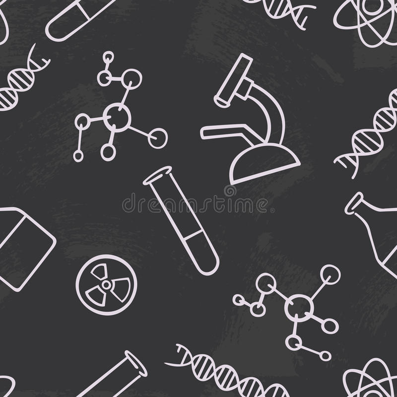 Seamless pattern background chemistry. Science vector. Wallpaper chemical instruments. University and school education. The stock illustration