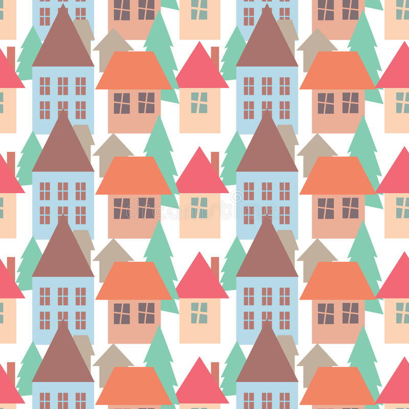 Seamless Pattern Background Of Colorful Houses Pattern Royalty Free Stock Photo