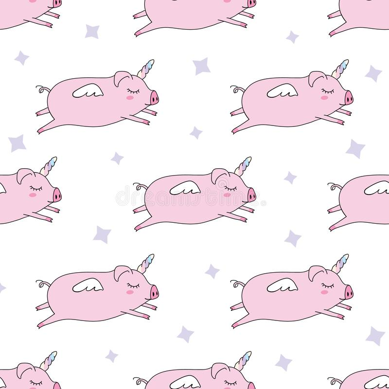 Seamless pattern background. Cute pig as pegasus and unicorn. stock illustration