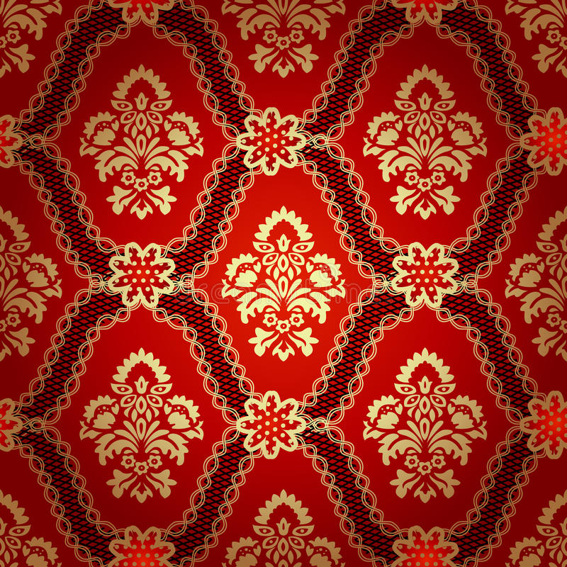 Red And White Patterned Wallpaper: Seamless Pattern Background.Damask Wallpaper. Stock Vector