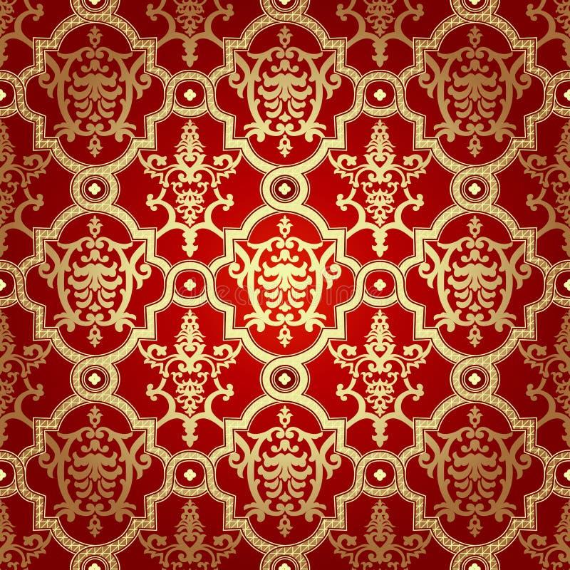Seamless pattern background.Damask wallpaper. stock illustration