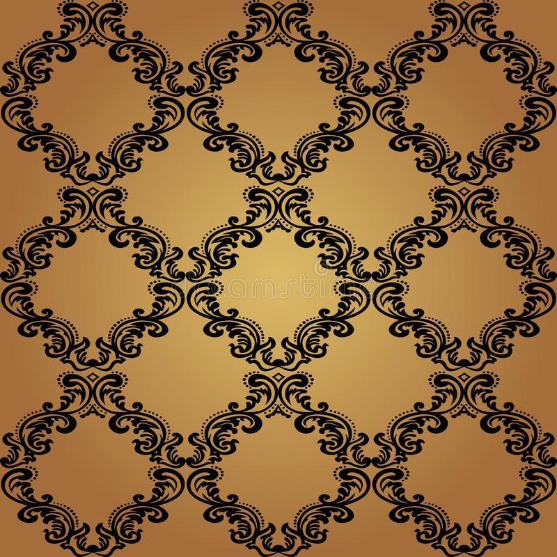 Seamless Pattern Background.Damask Wallpaper. stock illustration