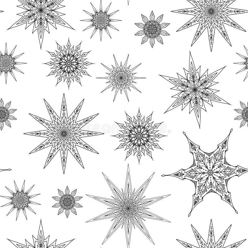 Seamless pattern, background with decorative stars. Stock line v vector illustration