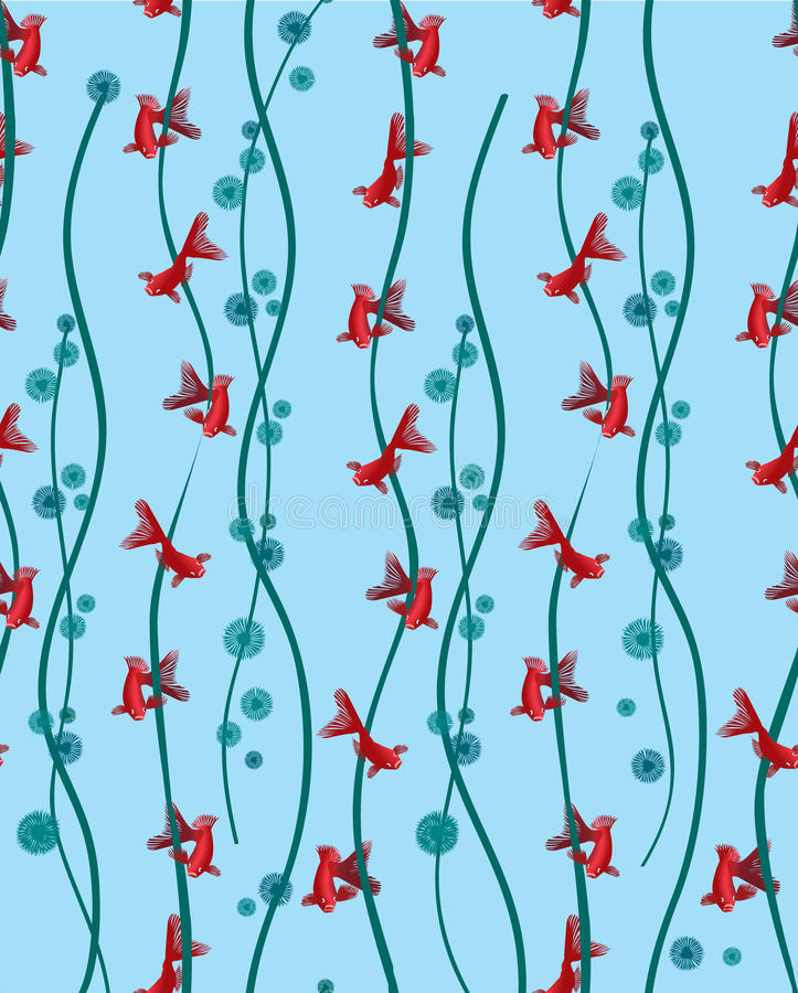 Seamless pattern background with fish in algae vector illustration