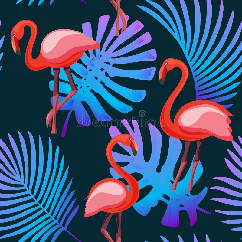 Flamingo, tropical plants neon fluorescent colors seamless pattern background royalty free illustration