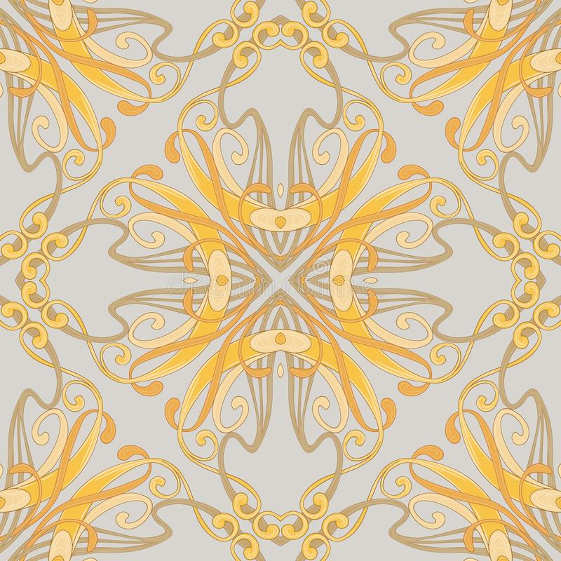 Seamless pattern, background with floral ornament In art nouveau style, royalty free illustration