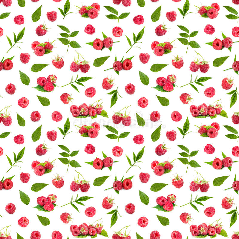 Seamless pattern background with fresh raspberry and leaves vector illustration