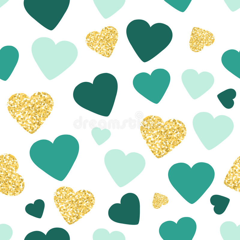 Seamless Pattern Background With Gold Glitter And Green