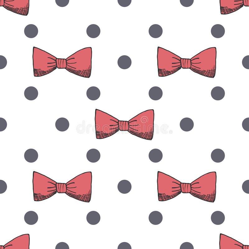 Seamless pattern background with handdrawn bows vector illustration stock illustration
