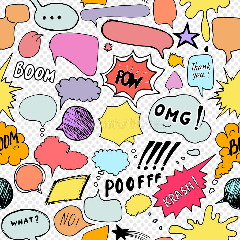 Seamless pattern background with handdrawn comic book speech bubbles vector illustration