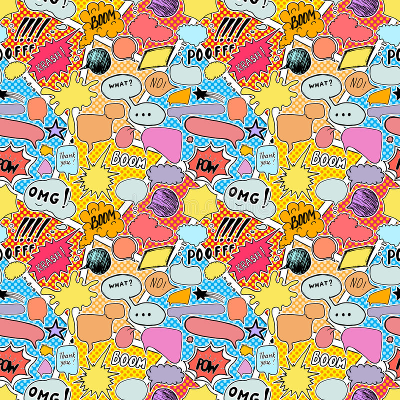 Seamless pattern background with handdrawn comic book speech bubbles, vector illustration.  stock illustration