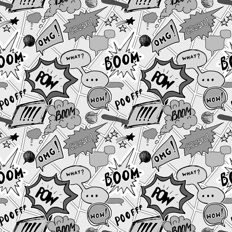 Seamless pattern background with handdrawn comic book speech bubbles, vector illustration.  vector illustration