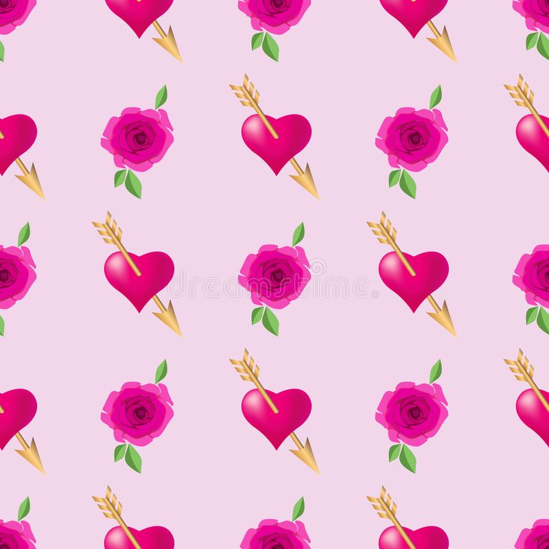 Seamless pattern background with hearts pierced by golden arrows and roses. Valentines Day holidays typography. Vector EPS10 vector illustration
